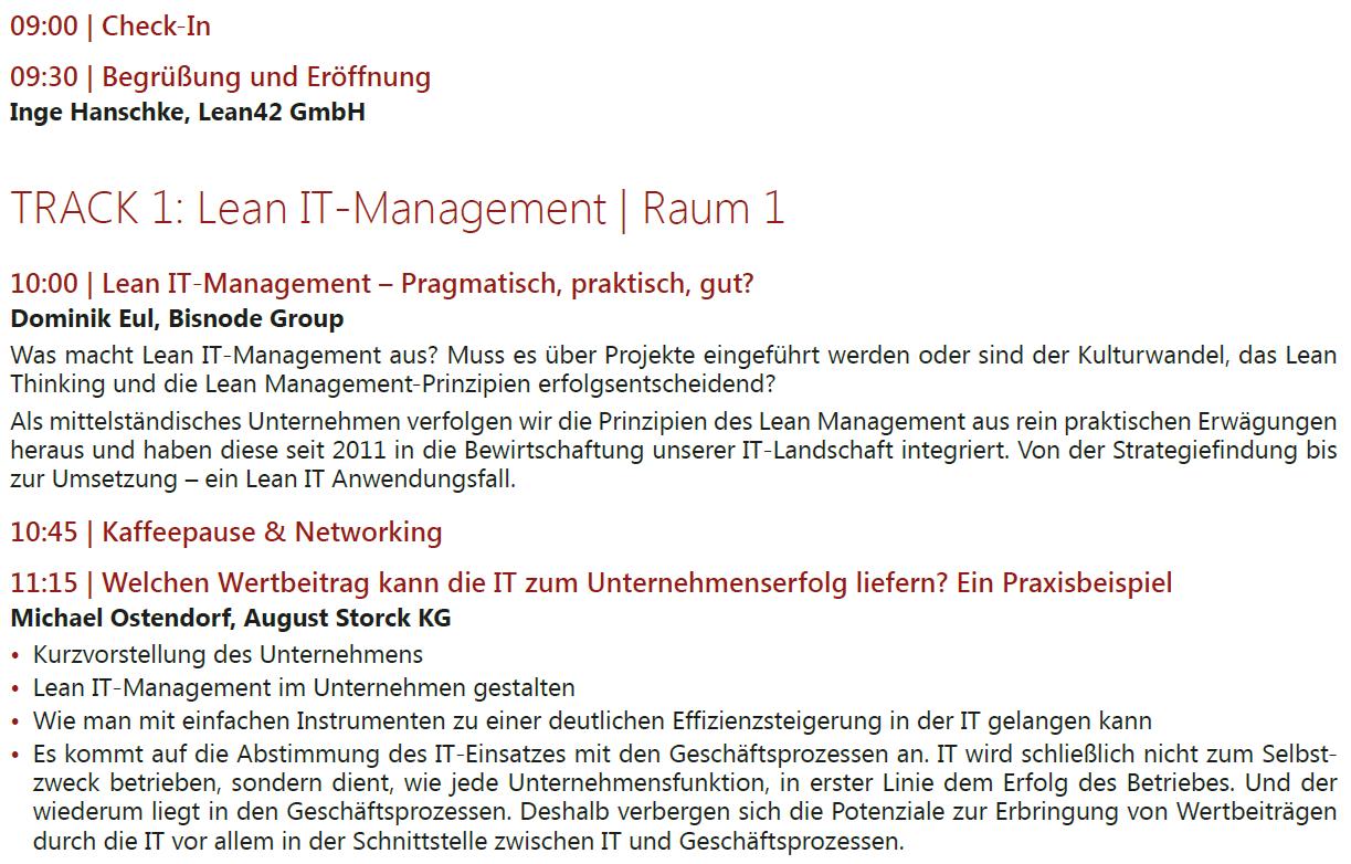 Agenda - Lean IT-Management 2016