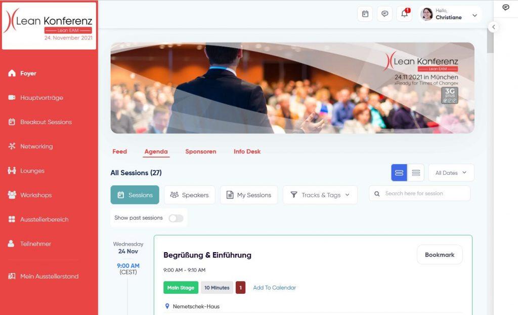 Virtuelle Konferenz-Plattform 2021 Portal (Foyer)